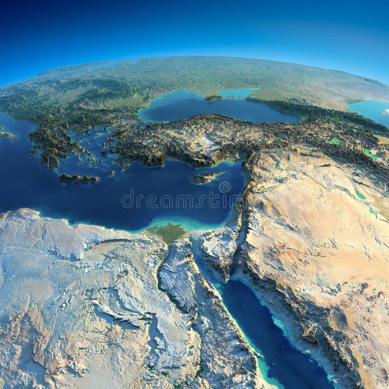 La terre détaillée. L'Afrique et Moyen-Orient illustration libre de droits