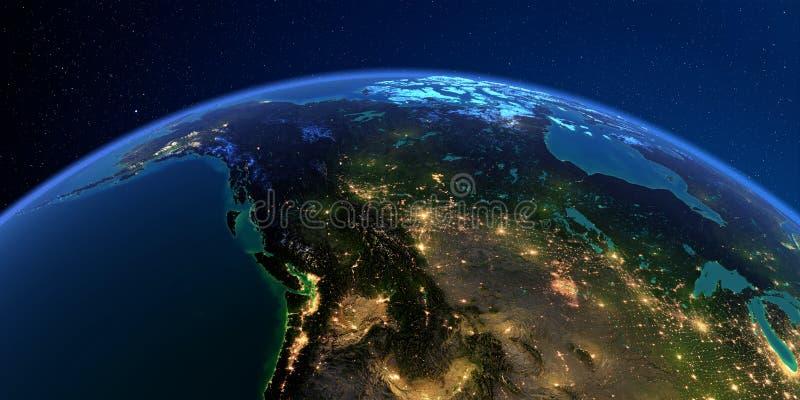 La terre détaillée la nuit Le Canada occidental et du nord - la Colombie-Britannique, l'Alberta et d'autres provinces illustration libre de droits