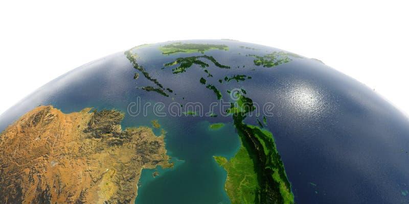 La terre détaillée sur le fond blanc Asie du Sud-Est Les personnes de Kayan sont un sous-groupe des personnes rouges de Karen l' illustration stock