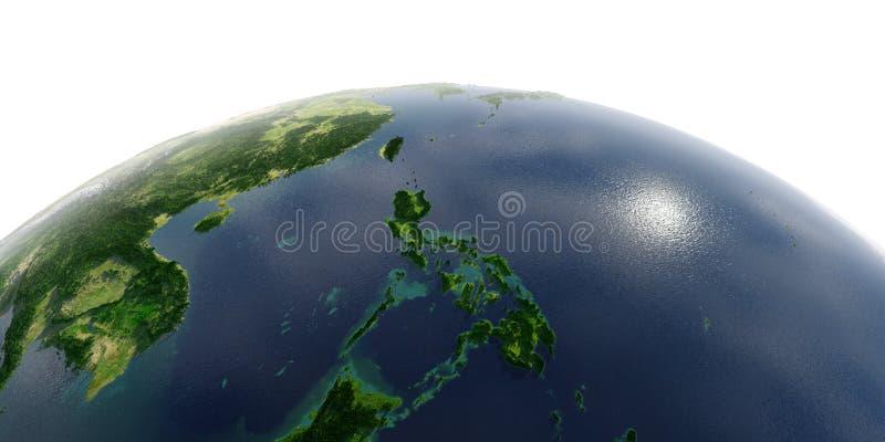 La terre détaillée sur le fond blanc Asie du Sud-Est Les personnes de Kayan sont un sous-groupe des personnes rouges de Karen ph illustration de vecteur