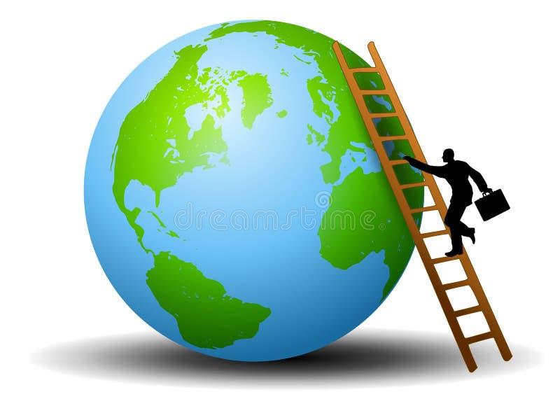 La terre d'échelle d'homme d'affaires illustration libre de droits