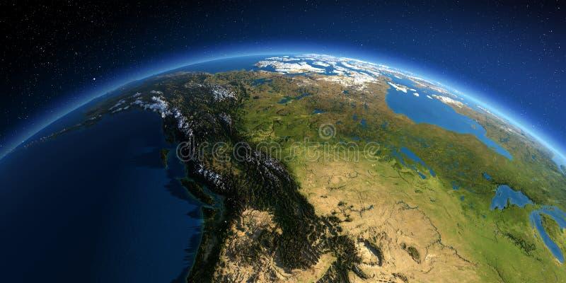 La terre d?taill?e Le Canada occidental et du nord - la Colombie-Britannique, l'Alberta et d'autres provinces illustration libre de droits