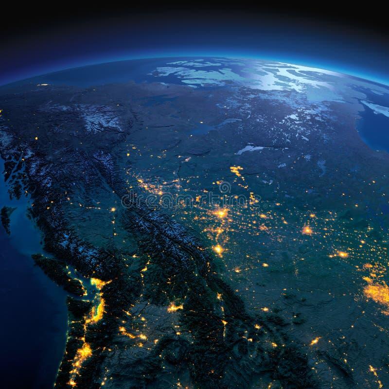 La terre d?taill?e Le Canada occidental et du nord - la Colombie-Britannique, l'Alberta et d'autres provinces une nuit ?clair?e p images stock