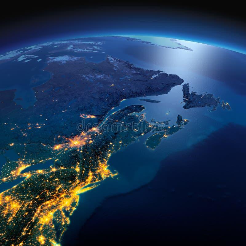 La terre d?taill?e Les USA du nord-est et le Canada oriental une nuit ?clair?e par la lune images libres de droits