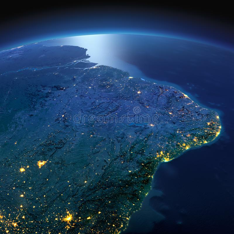 La terre d?taill?e La zone orientale de l'Am?rique du Sud Le Br?sil une nuit ?clair?e par la lune photographie stock libre de droits