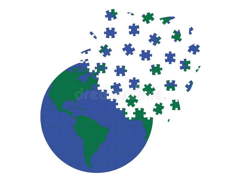 La terre dans des morceaux de puzzle image libre de droits