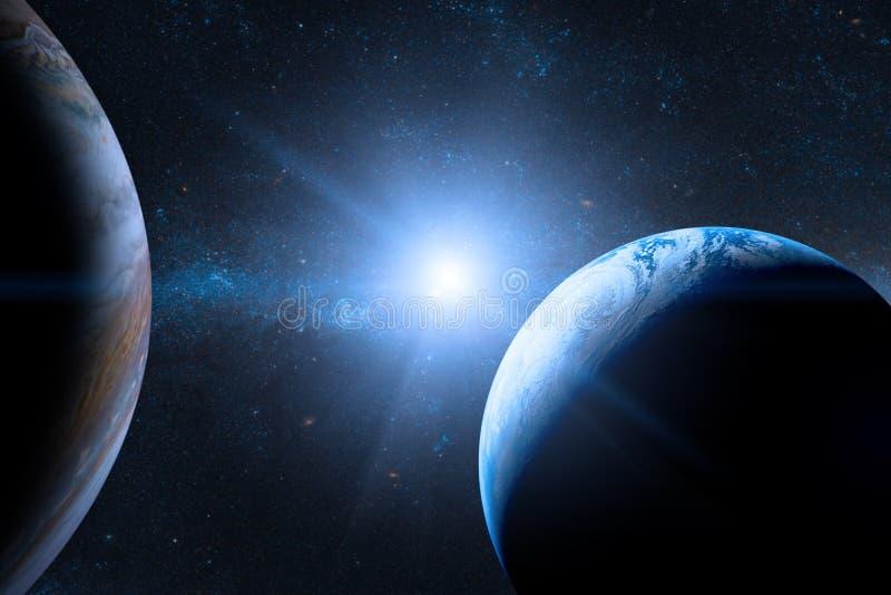 La terre dans l'espace extra-atmosphérique avec la belle planète illustration libre de droits