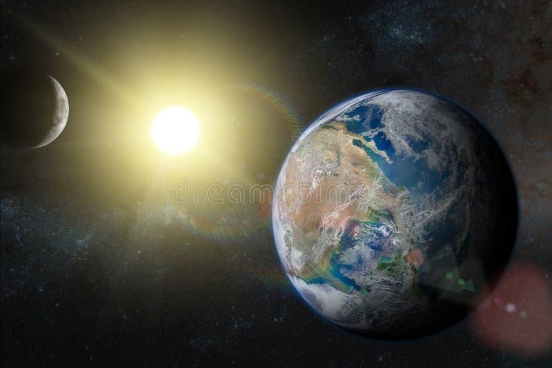 La terre dans l'espace extra-atmosphérique avec le beau lever de soleil illustration de vecteur