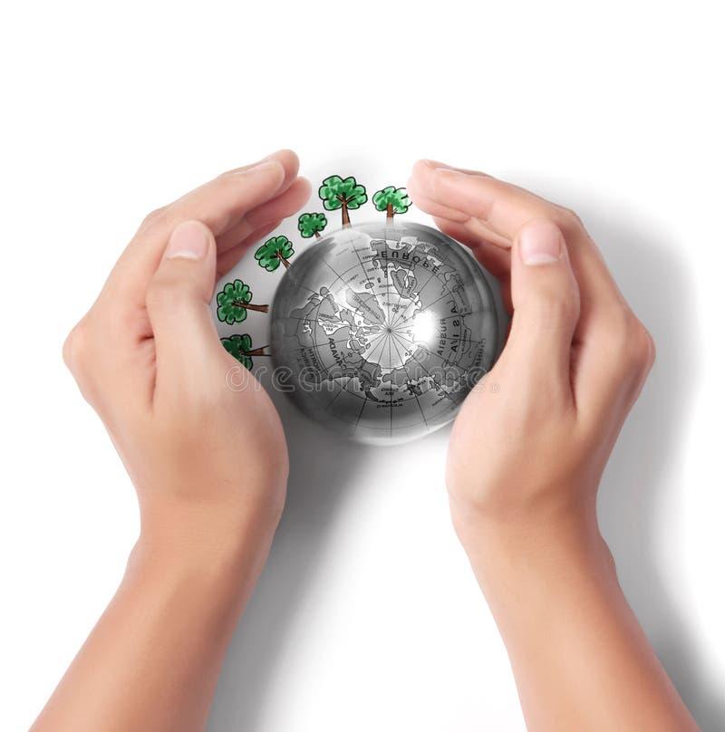 La terre dans la main humaine illustration de vecteur