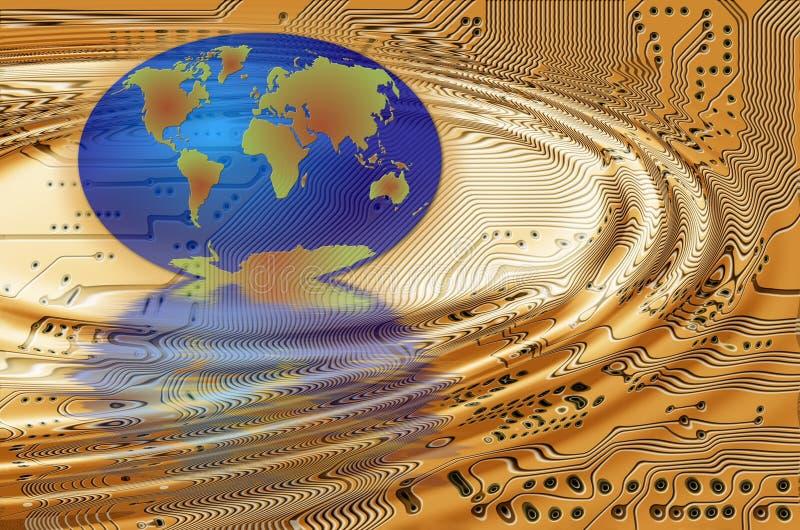 La terre dans le circuit imprimé illustration libre de droits