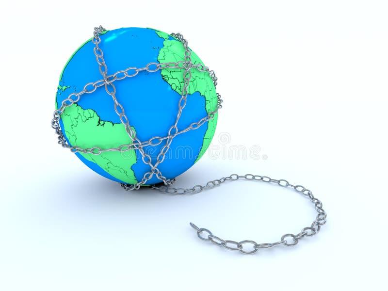 La terre dans les réseaux illustration de vecteur