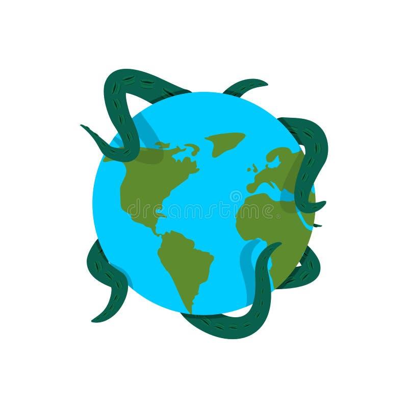 La terre dans les tentacules du monstre illustration stock