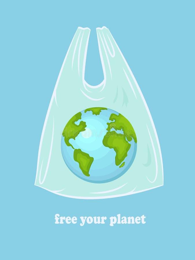 La terre dans un paquet en plastique avec l'inscription libérer votre planète Une illustration conceptuelle de la pollution du mo illustration de vecteur