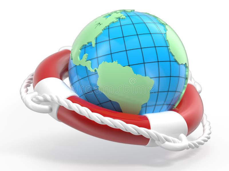 La terre de bouée de sauvetage et de globe illustration de vecteur