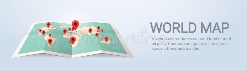 La terre de carte du monde avec le concept de voyage de goupilles illustration libre de droits