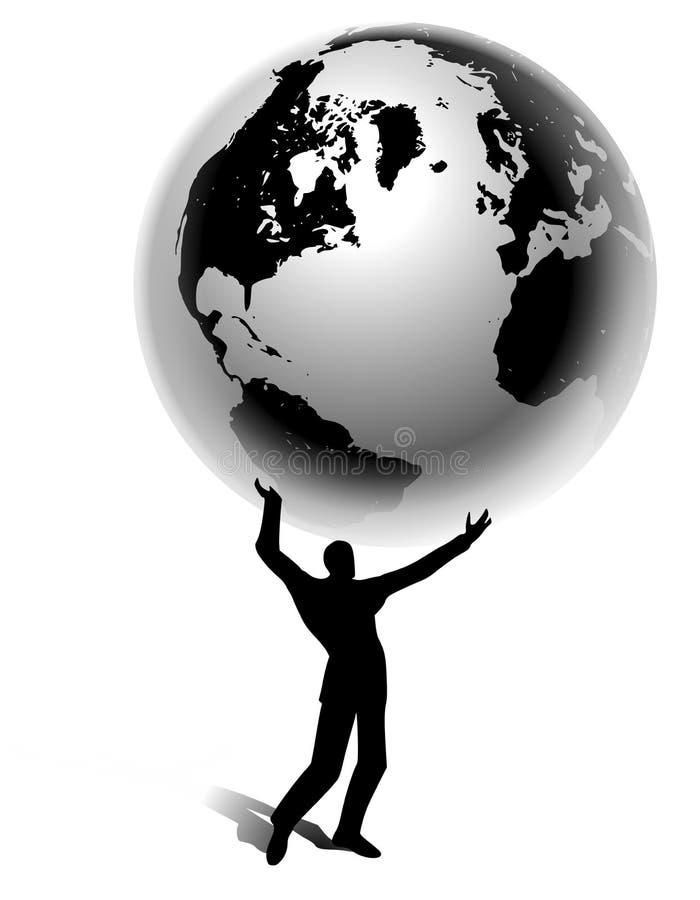 La terre de fixation de silhouette d'homme dans des mains illustration de vecteur