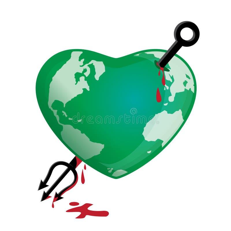 La terre de globe attaquée illustration libre de droits