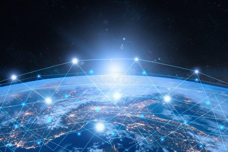 La terre de l'espace Concept d'Internet des affaires globales illustration stock