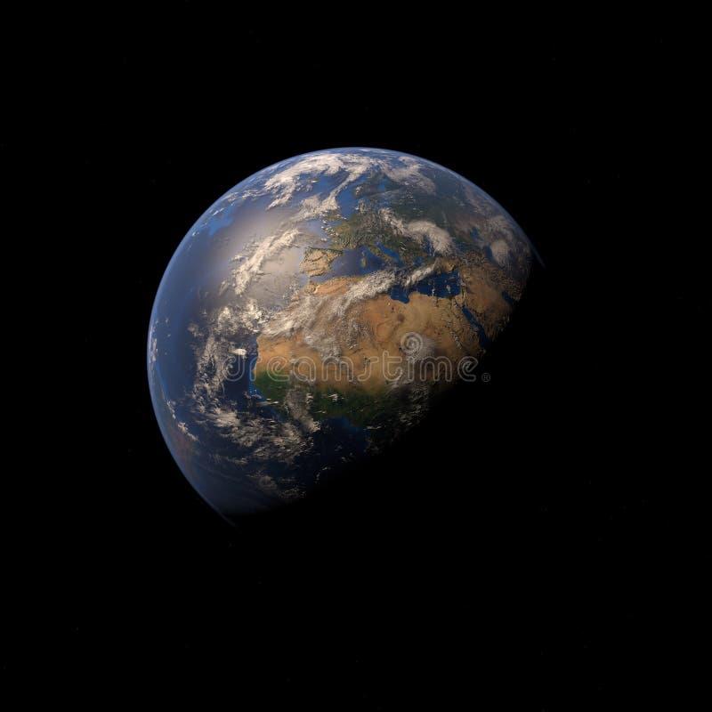 la terre de la planète 3D sur le fond de l'espace illustration de vecteur