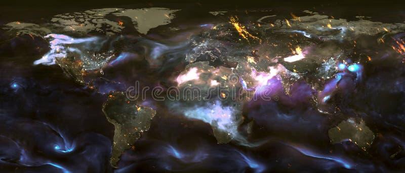La terre de planète avec des nuages et des lumières de nuit photographie stock