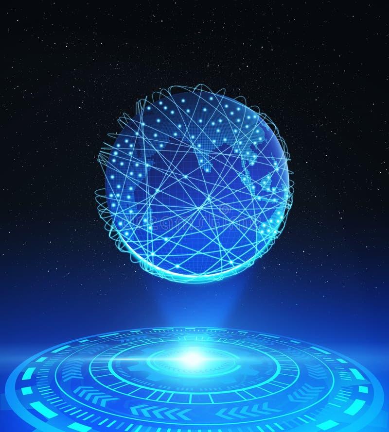 La terre de planète avec HUD technologique et la connexion réseau raye illustration stock