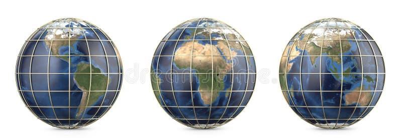 La terre de planète avec la maille d'or Représentation de l'Amérique, l'Europe, Afrique, Asie, continent d'Australie photos libres de droits