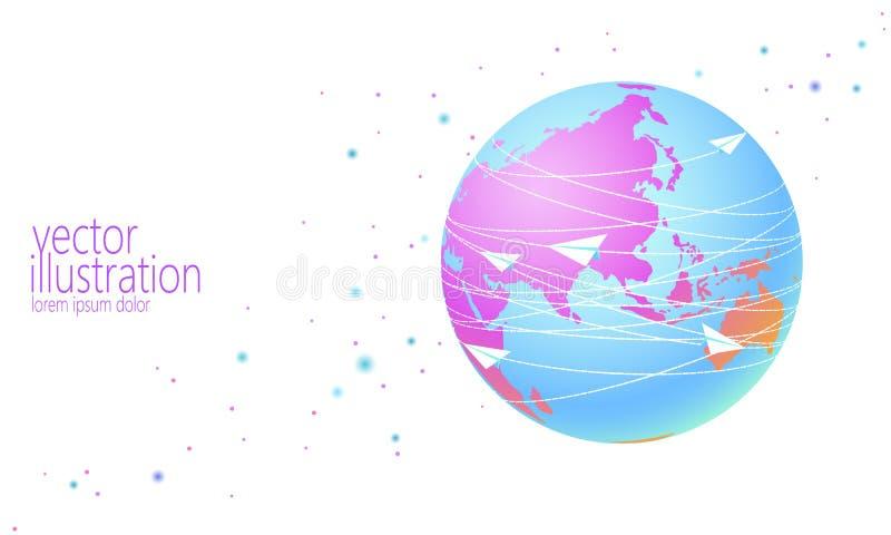 La terre de planète avec les lettres plates de papier de transmission de messages Courrier en ligne de communication de réseau In illustration stock