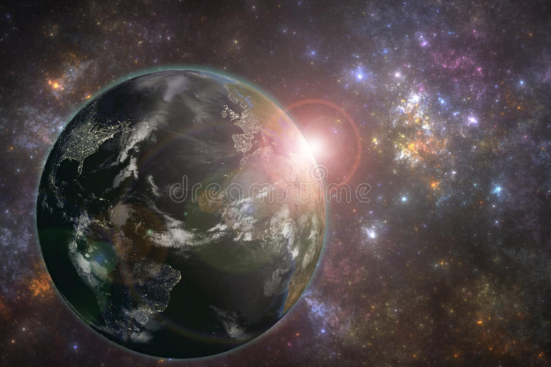 La terre de planète avec les lumières de ville de nuit et le Soleil Levant illustration libre de droits