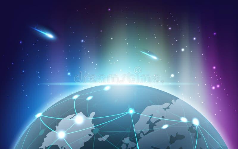 La terre de planète avec la lumière de l'aurore du concept de technologie de Blockchain, illustration libre de droits
