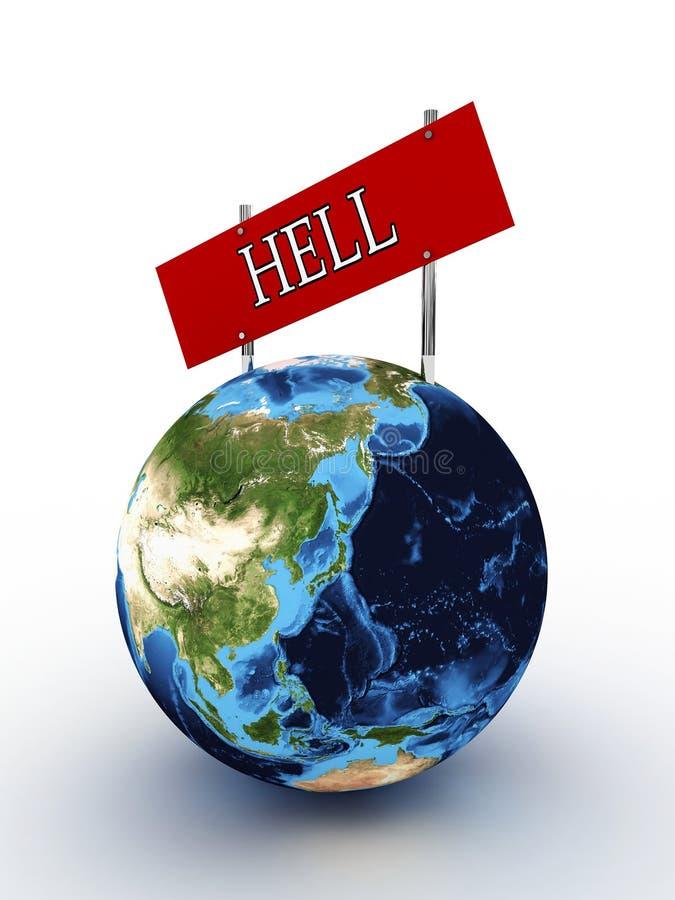 La terre de planète avec un enfer de signe illustration de vecteur