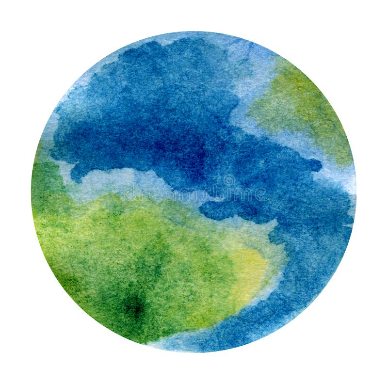 La terre de planète - belle illustration peinte à la main d'aquarelle illustration de vecteur