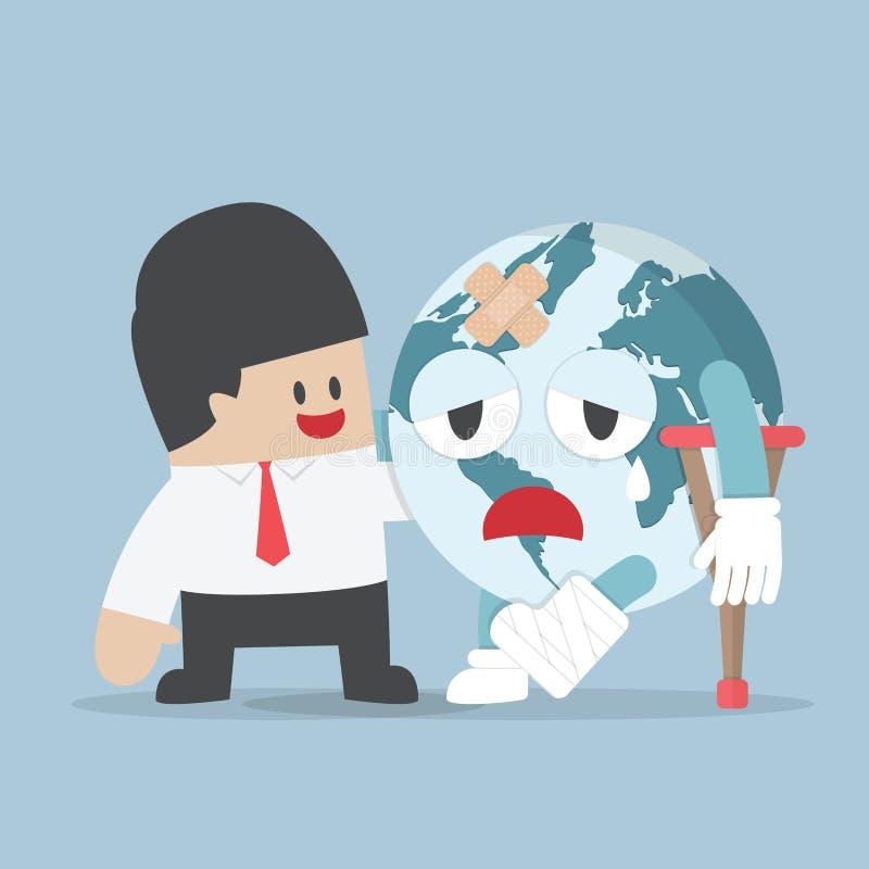 La terre de planète blessée par aide d'homme d'affaires illustration stock