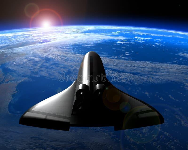 La terre de planète d'orbite de navette spatiale illustration libre de droits