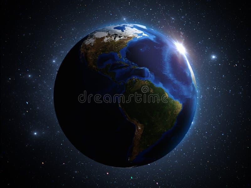 La terre de planète dans l'illustration de l'espace extra-atmosphérique 3d illustration stock
