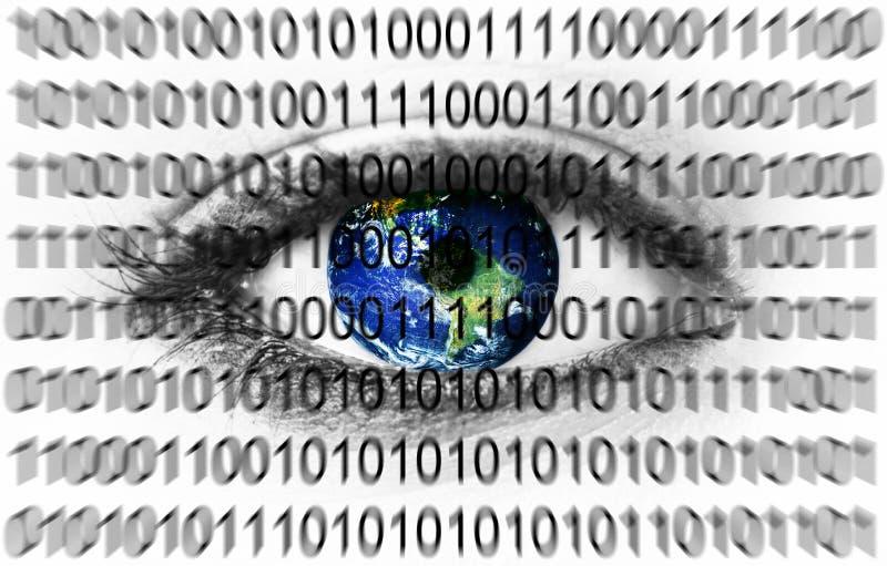 La terre de planète dans l'oeil avec le système binaire illustration libre de droits