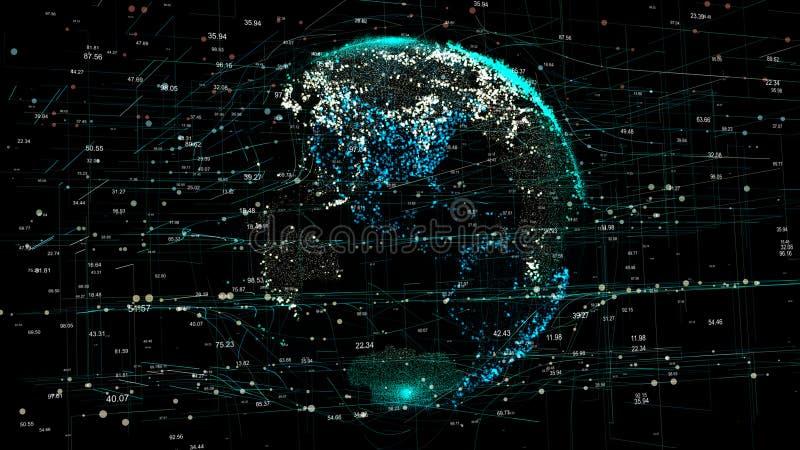 La terre de planète dans le réseau futuriste global avec des lignes dans le monde entier illustration de vecteur