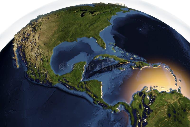 La terre de planète de l'espace montrant l'Amérique Centrale illustration libre de droits