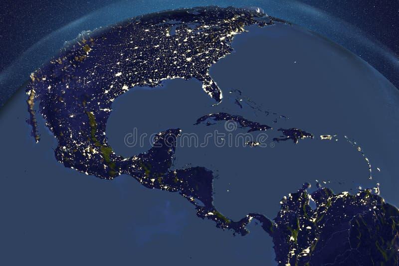 La terre de planète de l'espace montrant l'Amérique du Sud dans la nuit illustration libre de droits