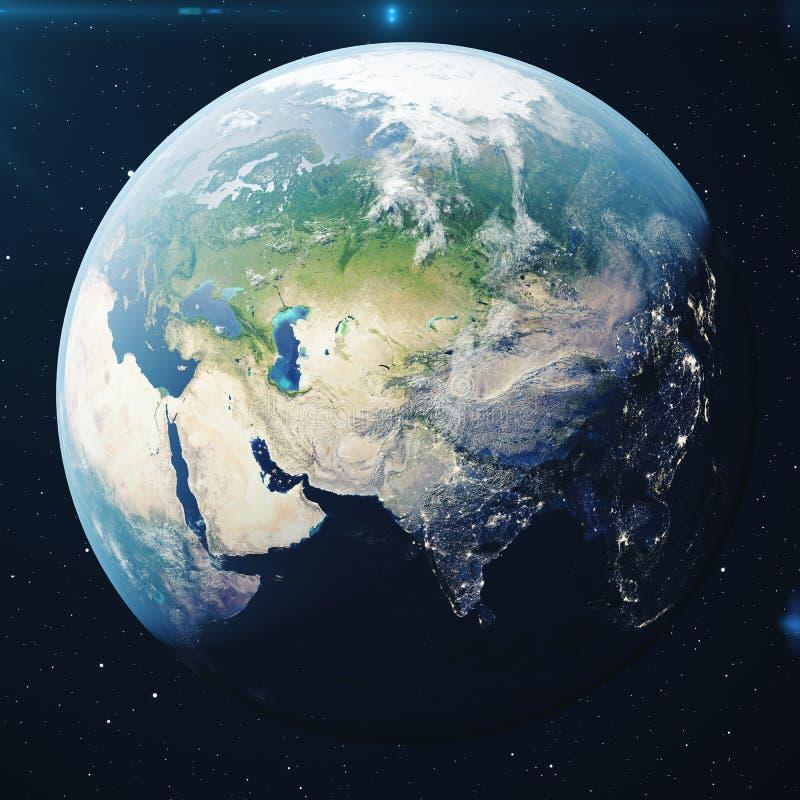 la terre de planète du rendu 3D de l'espace la nuit Le globe du monde de l'espace dans un domaine d'étoile montrant le terrain et illustration de vecteur