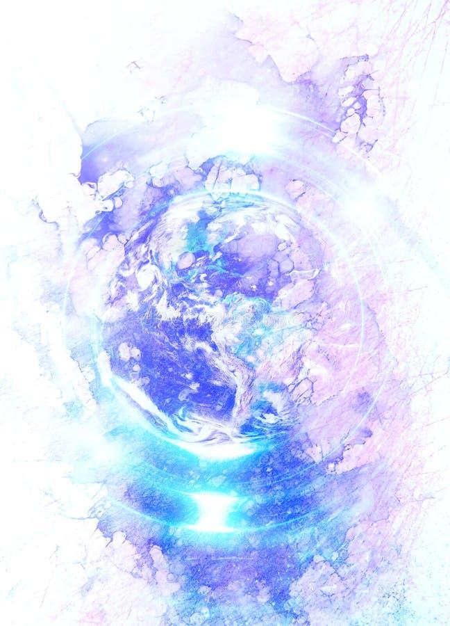 La terre de planète en cercle léger collage d'ordinateur Concept de la terre Effet de marbre illustration de vecteur