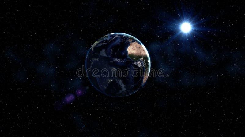 La terre de planète en univers noir et bleu des étoiles Manière laiteuse à l'arrière-plan Jour et nuit la ville allume des change photo stock