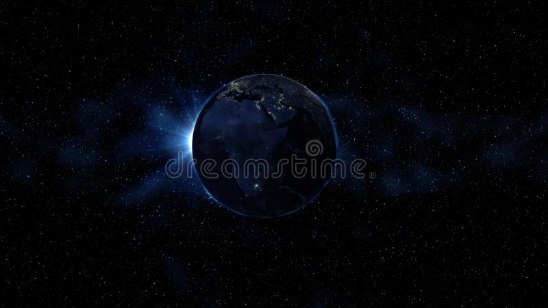 La terre de planète en univers noir et bleu des étoiles Manière laiteuse à l'arrière-plan Jour et nuit la ville allume des change photos libres de droits
