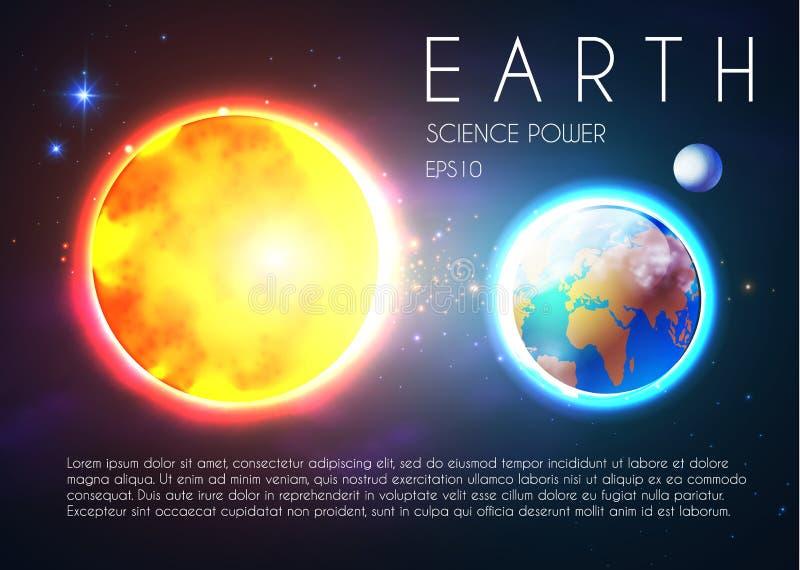 La terre de planète et Sun brillant dans l'espace avec des étoiles Nackground d'Univerce Celestial Design réaliste illustration de vecteur
