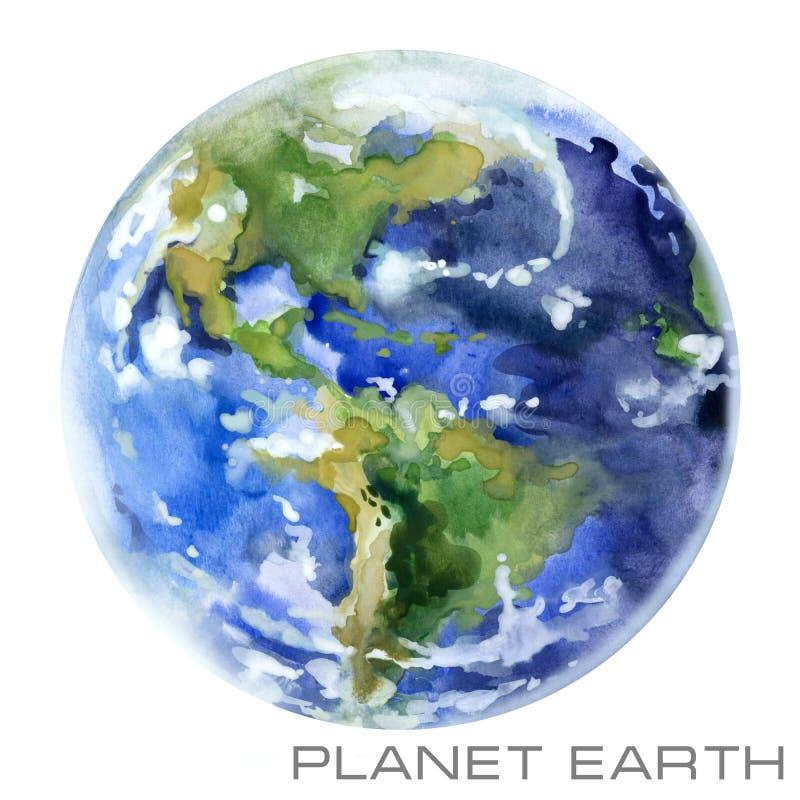 La terre de planète Fond d'aquarelle de la terre illustration libre de droits