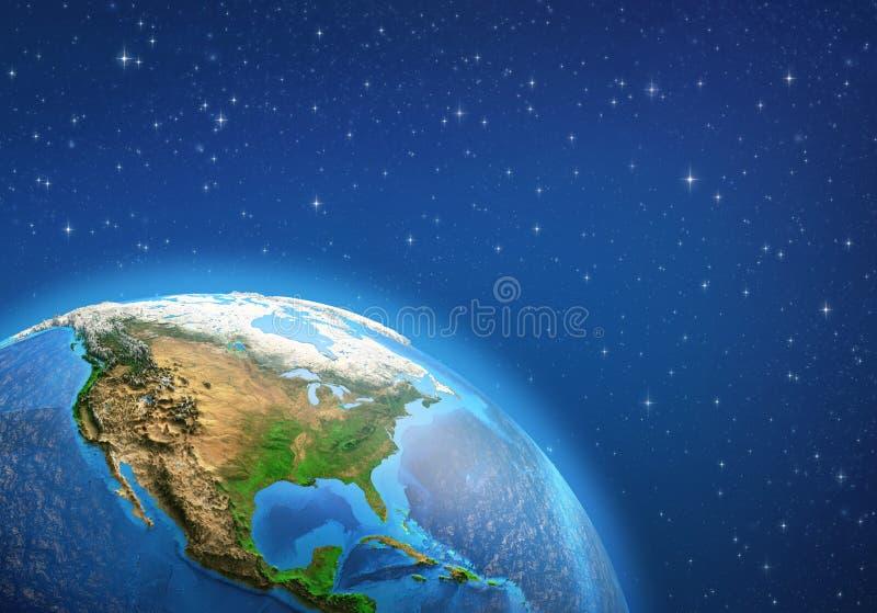 La terre de planète l'Amérique du Nord de l'espace illustration de vecteur