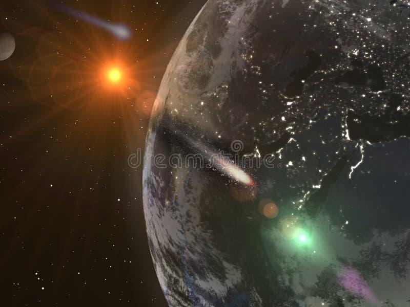 La terre de planète de l'espace, volant par la planète de comète illustration stock