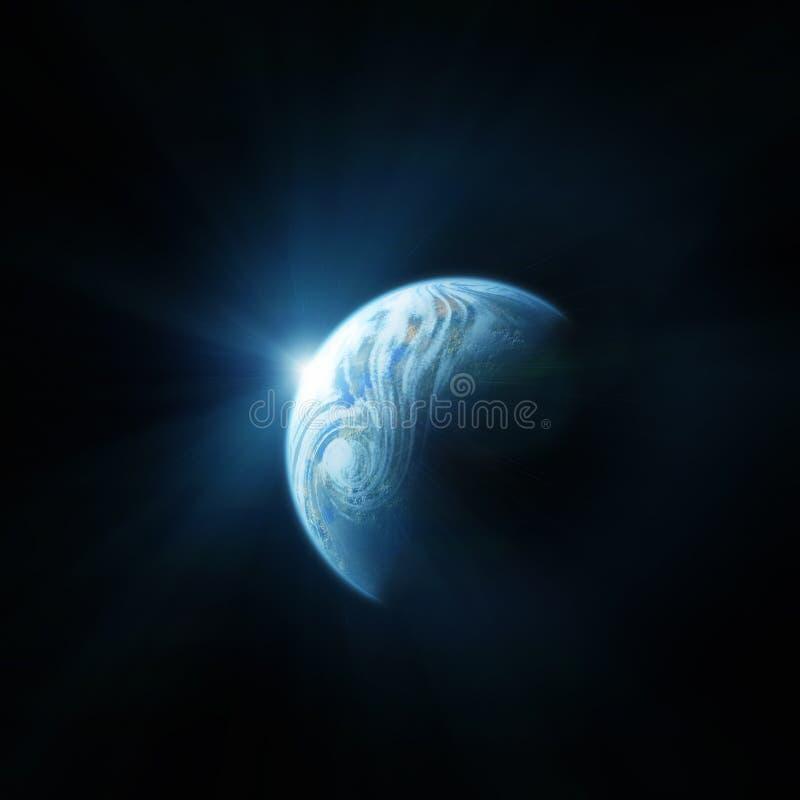 La terre de planète. Lever de soleil de l'espace illustration libre de droits