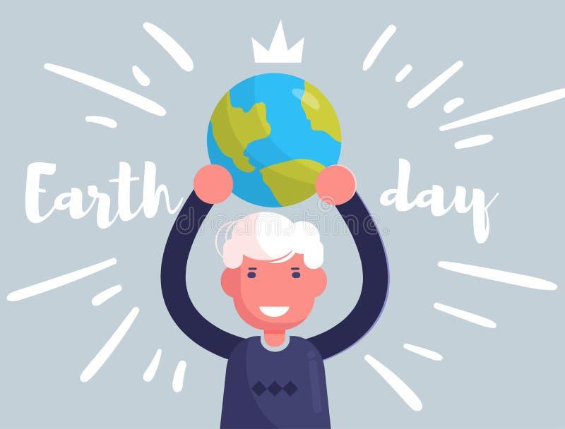 La terre de planète de participation d'homme de jour de terre dans des ses mains illustration stock