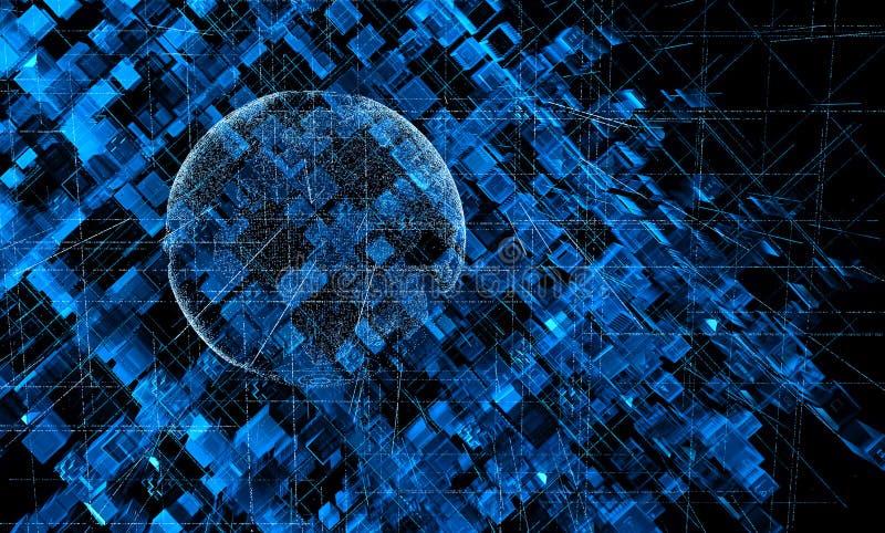 La terre de planète de sur le fond de la texture des cubes expulsés et du code de matrice propageant dans l'espace illustration stock