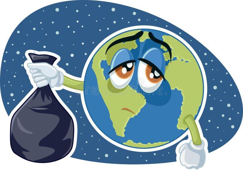 La terre de planète tenant la bande dessinée en plastique de vecteur de sac de déchets illustration de vecteur